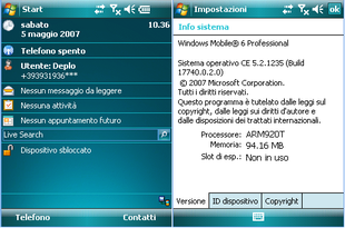 Screenshot di Windows Mobile 6 in italiano