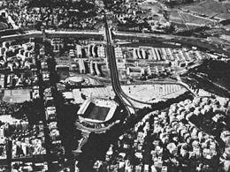 Lo stadio e il quartiere circostante negli anni sessanta