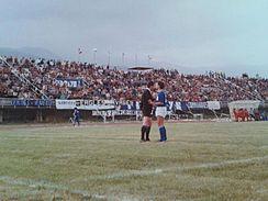 Un'immagine della tifoseria allo Stadio Salveti nel 1984.