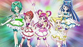 Cure Mint (Komachi), Cure Rouge (Rin), Cure Dream (Nozomi), Cure Lemonade (Urara) e Cure Aqua (Karen)