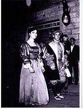 Il Capitano nobile degli Azzurri, il Conte Gian Raffaello Gherardini, nel 1966 durante la sfilata del Calcio Storico fiorentino