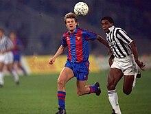 Laudrup al Barcellona nel 1991, marcato dallo juventino Júlio César della semifinale di ritorno della Coppa delle Coppe.