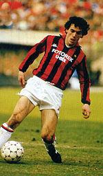 In azione al Milan nel 1986-1987