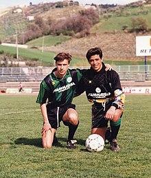 L'attaccante Enrico Chiesa e il portiere Luca Alidori al Chieti nella stagione 1991-1992.