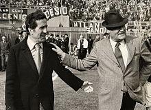 Rocco con Helenio Herrera prima di un derby della Madonnina nella stagione di Serie A 1967-1968