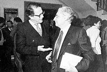 Renzo De Felice (a destra) con l'editore Vito Laterza.