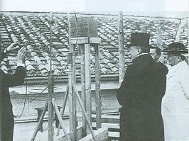Guglielmo Marconi (1874-1937) e papa Pio XI con il trasmettitore a onde ultracorte Vaticano - Castel Gandolfo