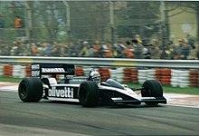 Elio De Angelis alla guida della Brabham BT55 a Imola