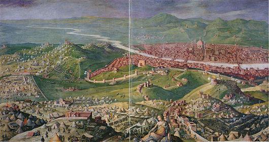 Giorgio Vasari. L'Assedio di Firenze, affresco in Palazzo Vecchio.
