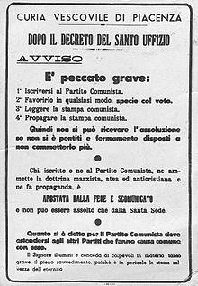 Scomunica ai comunisti wikipedia for Chi fa le leggi in italia