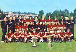 La rosa del Milan nella stagione 1973-1974, con la Coppa delle Coppe e la Coppa Italia vinte nel 1972-1973