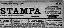 Estratto della prima pagina della «Stampa» di Torino del 18 maggio 1907.