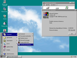 Il desktop di Windows 95