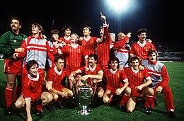 I Reds festeggiano dopo la vittoriosa finale di Coppa dei Campioni 1983-1984