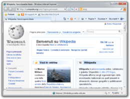 Screenshot di Internet Explorer 8 su Windows 7