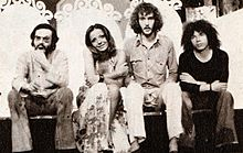 Antonello Venditti, Simona Izzo, Francesco De Gregori e Riccardo Cocciante durante le prove di Racconto (1973)
