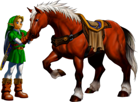 Artwork di Epona e Link di Ocarina of Time