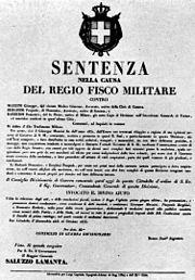 La sentenza di condanna a morte del 1833