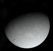 Rappresentazione della Terra a glaciazione ultimata, si può notare come solo le catene montuose riescano ad emergere dalla coltre di ghiaccio.