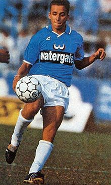 Corini in azione al Brescia nel campionato di Serie B 1988-1989