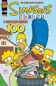 La copertina del 100° 'albo italiano di Simpsons Comics, dal titolo
