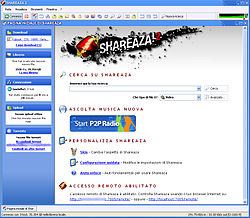 Screenshot di Shareaza 2.1 (in modalità a tabelle)