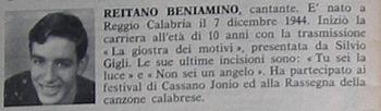 Il primo trafiletto su Mino Reitano, pubblicato su Sorrisi e Canzoni nº 32 del 6 agosto 1961 a pagina 36