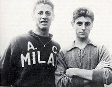 Rivera, a destra, assieme a Juan Alberto Schiaffino, nel 1959