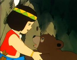 I cartoni animati a un orso ragazza poster precedenti sui libri
