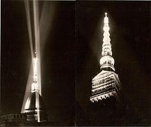 Progetto di illuminazione della Mole Antonelliana a Torino nell'ambito delle celebrazioni per il centenario dell'Unità d'Italia, 1961