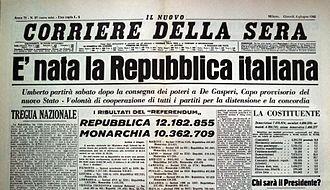 Prima pagina del quotidiano il Corriere della Sera, edizione dell'11 giugno 1946, che dichiarava la vittoria del voto repubblicano a seguito dei risultati del referendum istituzionale del 2 e 3 giugno.