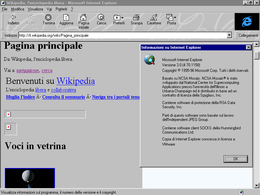 Screenshot di Internet Explorer 3.0 su Windows 95