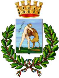 A sinistra lo stemma, a destra il gonfalone civico
