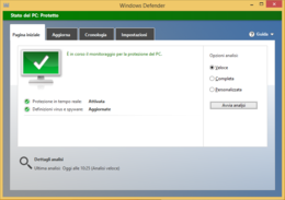 Windows Defender in esecuzione su Windows 8.1