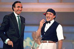 Baudo assieme a Giorgio Faletti al Festival di Sanremo 1987