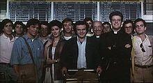 Claudio Amendola con il cast del film Vacanze in America (1984)