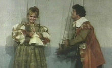 Desdemona (Laura Betti) e Cassio (Franco Franchi) in Che cosa sono le nuvole? (episodio di Capriccio all'italiana, 1968)