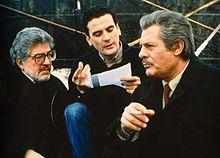 Mastroianni con Ettore Scola e Massimo Troisi sul set del film Che ora è?