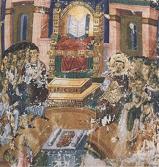 La più famosa rappresentazione del primo concilio di Costantinopoli, miniatura dalle Omelie di San Gregorio (880 ca.).