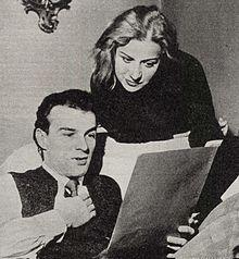 Giorgio Albertazzi con Bianca Toccafondi nel 1955, ai tempi della loro unione