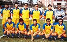 Il Frosinone della stagione 1989-1990, all'ultima annata sportiva prima del secondo fallimento societario.
