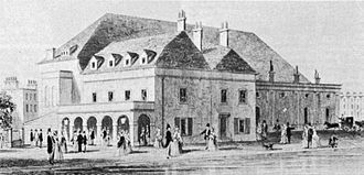 drawing of exterior of Victorian theatre