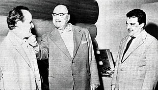 Nino Rota con Riccardo Bacchelli e Bruno Maderna nel 1963