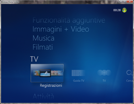 Screenshot di Windows Media Center (Windows)