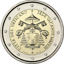 I due euro commemorativi della sede vacante 2013 con lo stemma del  cardinale camerlengo Tarcisio Bertone a141829d0