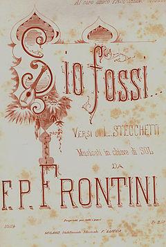 S'io fossi, edizioni Lucca, musica di Francesco Paolo Frontini.