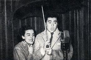 Isa Bellini e Raffaele Pisu nel varietà radiofonico Rai Sotto il parapioggia (1951)