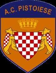 Lo stemma dell'A.C. Pistoiese utilizzato dalla seconda metà degli anni novanta fino al fallimento del 2009, al cui interno troneggiava il simbolo comunale di Pistoia.