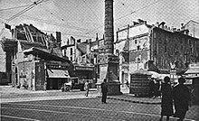 Lavori di realizzazione di piazza San Babila a Milano all'angolo tra via Bagutta e corso Venezia (1934-1935)