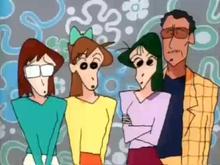 Il corpo scolastico dell'asilo Futaba: da sinistra a destra vi sono Masumi Ageo, Midori Yoshinaga, Ume Matsuzaka e Enchiyou